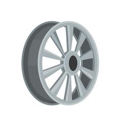 Gray car disk flat icon of alloy wheel vector