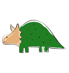 green dinosaur on white background vector image