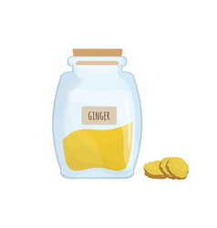 ground ginger stored in clear jar isolated on vector image