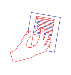 Hand with voting ballot catalonia referendum vector