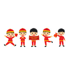 Happy chinese new year boy in traditional clothes vector