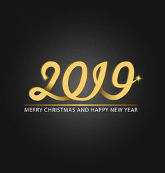 happy new year and merry christmas monogram 2019 vector image