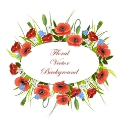 Holiday background with flowers and oval label vector image