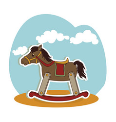 Horse wooden baby toy icon vector
