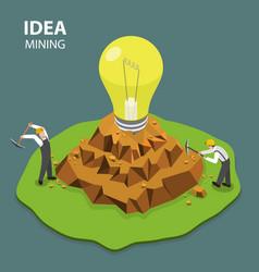 idea mining flat isimetric vector image