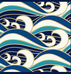 japanese sea waves pattern vector image