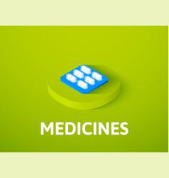 Medicines isometric icon isolated on color vector