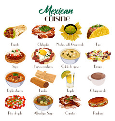 mexican cuisine icons vector image
