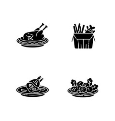 National cookery black glyph icons set on white vector