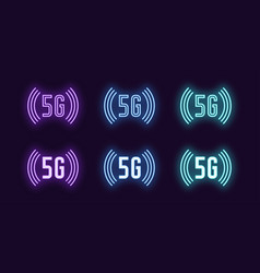 Neon icon set 5g network mobile technology vector