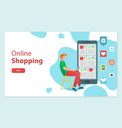 online shopping concept man sitting on chair vector image