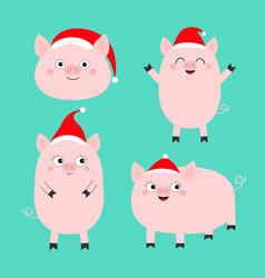 Pig piglet set santa hat cute cartoon funny baby vector
