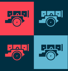 Pop art cannon icon isolated on color background vector