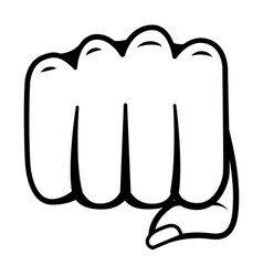 pop art hand punch cartoon in black and white vector image