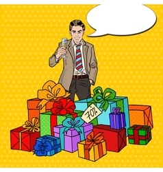 Pop Art Man with Gift Boxes and Champagne Glass vector