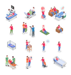 pregnancy icons isometric set vector image