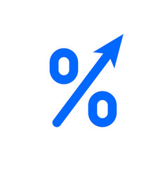 Profit high growth arrow and percent icon gdp vector
