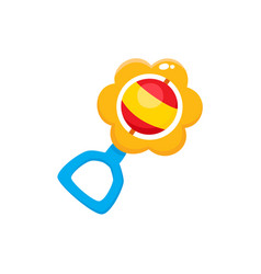 Rattle toy flat isolated vector