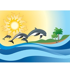 Sea Background with Jumping Dolphins vector