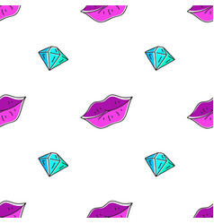 Seamless pattern of lips and diamond vector
