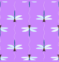 seamless pattern with dragonflies and wavy vector image