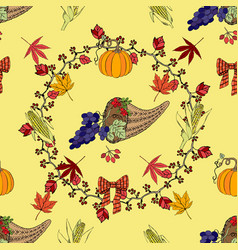 seamless pattern with thanksgiving decoration vector image