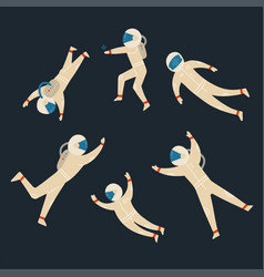 set cute astronauts in different poses flat vector image