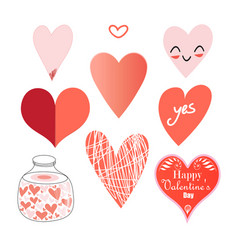 Set different hearts vector