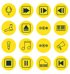 set of 16 audio icons includes mute song last vector image
