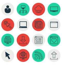 Set of 16 world wide web icons includes virtual vector