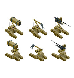 set of a military robots of khaki color on white vector image