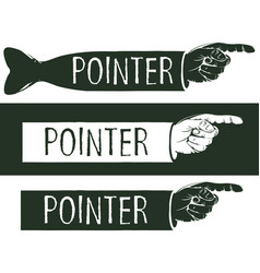 set of black and white pointers with a human hand vector image