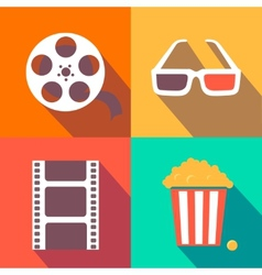 Set of movie design elements and cinema icons flat vector image