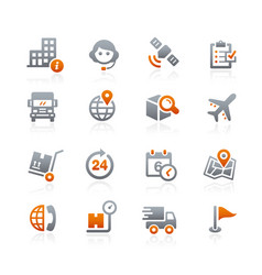 Shipping and tracking icons - graphite series vector
