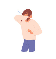 sick unhealthy woman sneezing female character vector image