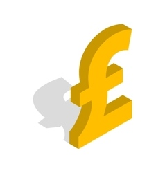 Sign of pound sterling icon isometric 3d style vector image