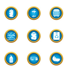 Smithereens icons set flat style vector