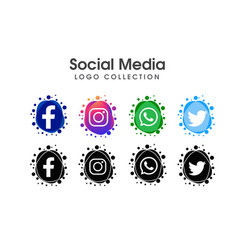social media logo icon collection vector image