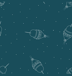 spaceship seamless pattern rocket travel through vector image