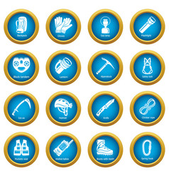 Speleology equipment icons set simple style vector