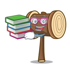 Student with book mallet mascot cartoon style vector