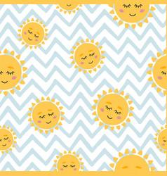 Sun seamless pattern cute yellow sun face on blue vector
