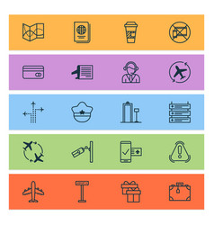 travel icons set with travel map airplane vector image