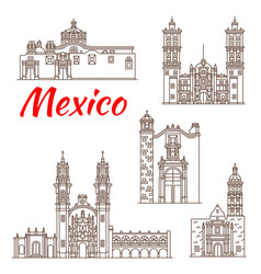 Travel landmark of mexican architecture icon vector