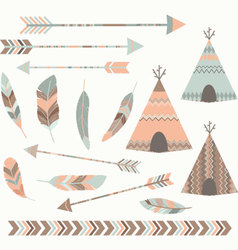 Tribal Tee pee Tents set vector