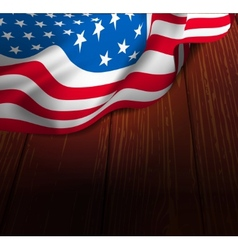 Us flag on a wooden floor vector