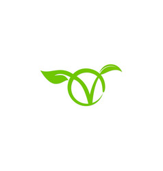 Vegetarian letter v green leaf logo vector