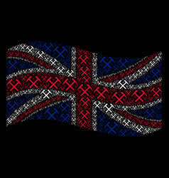 Waving uk flag pattern of mining hammers items vector