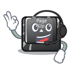 With headphone button page up keyboard mascot vector