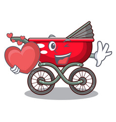 With heart baby sitting in a baby stroller cartoon vector